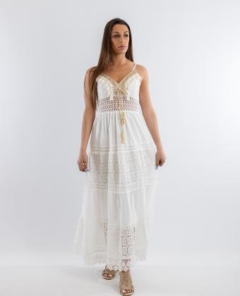 Vestido comprido rendado