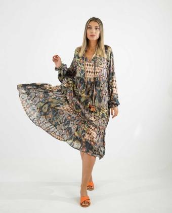 Vestido de manga comprida com padrão